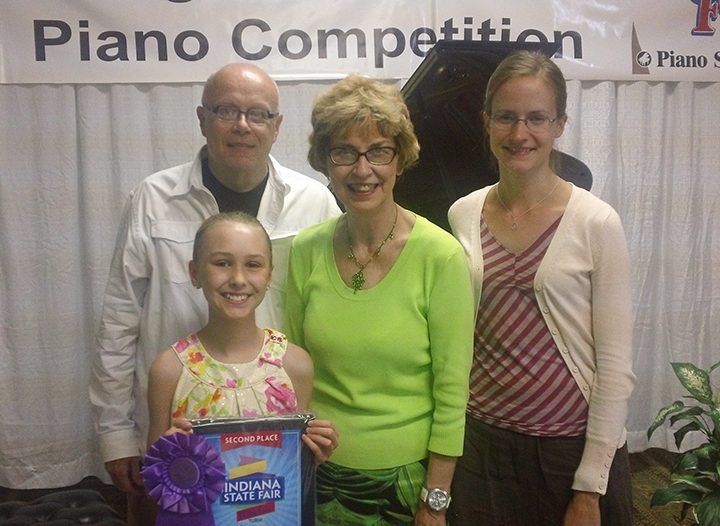 Pictured from left to right are Judge Dr. Kimm Hollis from Hanover College, Gracie Tubbs, a Young Hoosier Pianist winner, Cheryl Everett, instructor of piano at Wabash College and Young Hoosier State Piano competition coordinator, and Judge Amy Wallarab, MM in Jazz Studies from Indiana University. (Submitted photo)