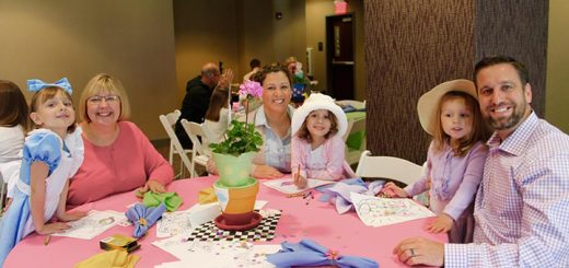 VIP Tea Party guests of Alice included Megan and Kelly James, of Noblesville, with new friends Carla, Michaella, Cecilia and Kelly Hipskind of Carmel.(Photos by Amy Pauszek for Current Publishing LLC. Copyright 2016. All Rights Reserved.)