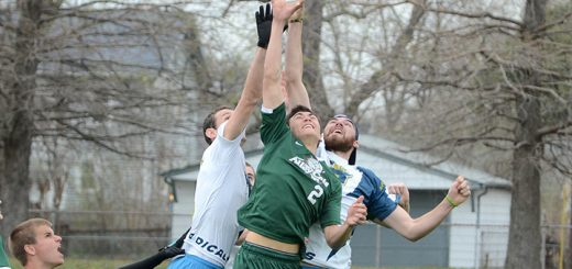 Fishers High School graduate and ultimate frisbee coach Rick Gross goes up for a catch playing for the Indianapolis AlleyCats. (Submitted photo by Mike Gross/144 Photos)