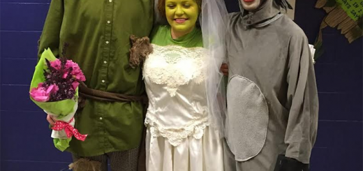 Jeremiah Vroegop as Shrek, Shelby Grice as Fiona and Tyland Armour as Donkey in TPCA's 'Shrek.'  (Submitted photo)
