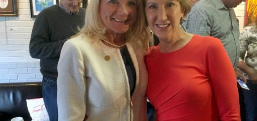 Carmel clerk treasurer Christine Pauley and Carly Fiorina inside Soho.