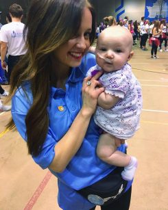 Aryn Richey holds Laikyn Jane Rowley at a Dance Marathon event. (Submitted photo)