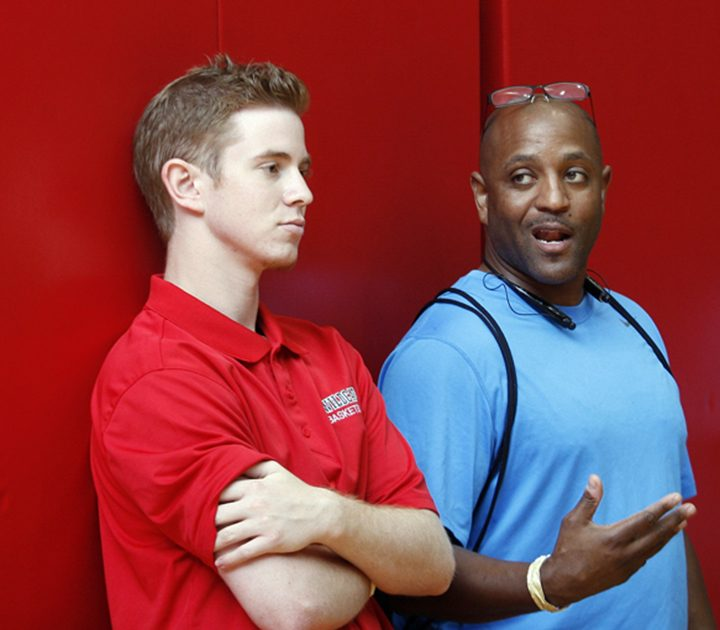 Jake Stanbrough, left, speaks with Felix Rogers, whose son plays basketball at IUPUI. (Submitted photo)