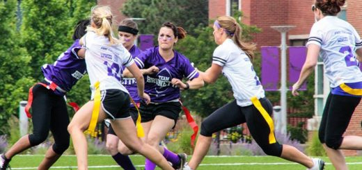 Kristen Johnston, center, plays in a Blondes vs. Brunettes flag football game. (Submitted photo)