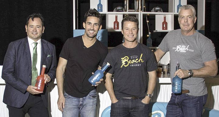 From left, co-founders of Beach Whiskey Smoke Wallin, Jake Owen, Billy Bush and Andrew McGinnis. (Photo by Mark Gillespie)