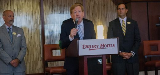 From left; Randy Roelofsz, Mayor of Carmel Jim Brainard and Andrew Woodruff commence the ribbon-cutting ceremony for the Drury Plaza Hotel. Brainard cut the ribbon at the ribbon cutting ceremony. The new hotel is at Drury Plaza Hotel 9625 N. Meridian St. in Carmel. (Photos by Jason Conerly)