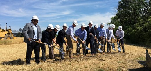 Joined by Fishers Mayor Scott Fadness, STANLEy Security officials and project partners broke ground on the company's upcoming headquarters on Sunlight Drive in Fishers June 13. (Submitted photo)