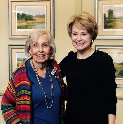 The Barrington of Carmel resident Barbara Busche, left, said she enjoyed meeting Jane Pauley in person, as she used to watch her a lot on TV. (Photo by Mark Ambrogi)