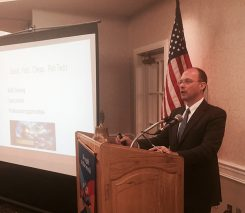 Andrew R. Klein, dean of the IU McKinney School of Law, speaks to the Carmel Rotary Club. (Photo by Adam Aasen)
