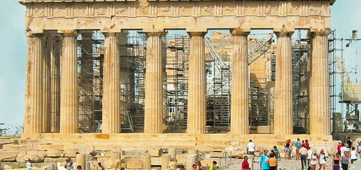 The eastern end of the Parthenon in Athens, Greece (Photo by Don Knebel)