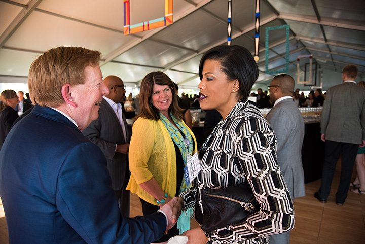 Carmel Mayor Jim Brainard welcomes Stephanie Rawlings-Blake, U.S. Conference of Mayors president and mayor of Baltimore. (Submitted photo)