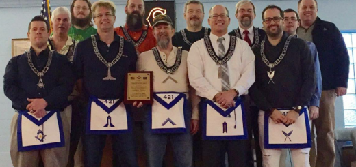 From left, Senior Deacon Ben Edde, Junior Stewart Bob Hedin, James Buckhorn, Senior Warden Dave Philpott, Charles Sparks, Worshipful Master Dave Hommel, Chaplain and Trustee Bill Sanders Jr., Brad Rollo, Tyler Jack Moorman, Secretary Gustavo DePaula, Junior Deacon Jordan Lambuth and Trustee Neil Anger. (Submitted photo)