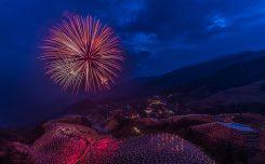 Fireworks over the Longji Rice Terraces.