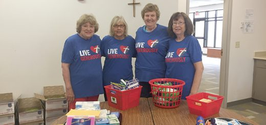 From left, Pat Nash, Margaret Whitesel, Evelyn Seeley and Sandy Hughey helped arrange for Christmas in July care packages to be sent to troops overseas. (Submitted photo)