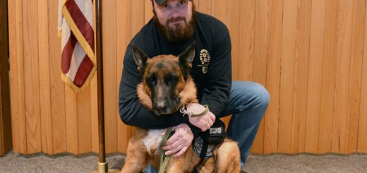 Shane Jackson and his dog, Jersey. (Photo by Theresa Skutt)