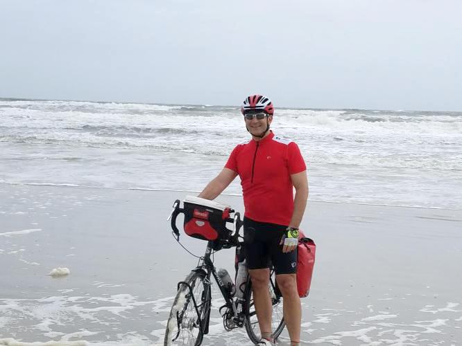 Gary Rapp during his bike across America. (Submitted photo)