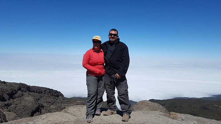 Andrea and Bill Ryan of Carmel pause during their hike on Mount Kilimanjaro. (Submitted photo)