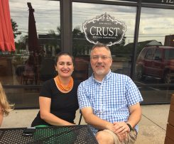 Married couple Dustin Brown and Anzi Lotfi purchased Crust, their favorite local restaurant. (Photo by Anna Skinner)