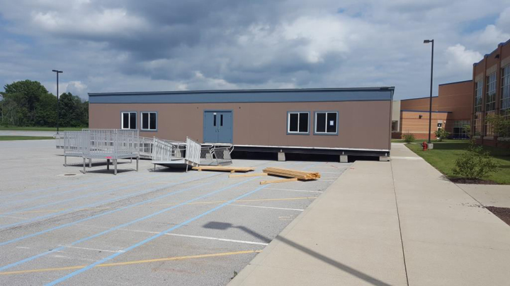 The portable classroom outside Hamilton Southeastern Junior High has been set and is ready to have power supplied. (Submitted photos)