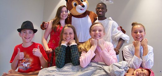 """The cast for """"Indiana – The Musical"""" includes, front row from left, Zach Clar, Kyla Morris, Amelie Zirnheld and Sara Reichert with Hali Woody lying across; back row, from left, Anna Barge, Drew Hoffman and Clifton Jett. (Photos by Sam Elliott)"""