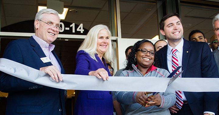 From left, Dan Canan of OneZone, Christine Altman, Mary David and Westfield Chamber of Commerce President Jack Russell cut the ribbon at Verizon Wireless's new Smart Store. (Photo by Jason Conerly)