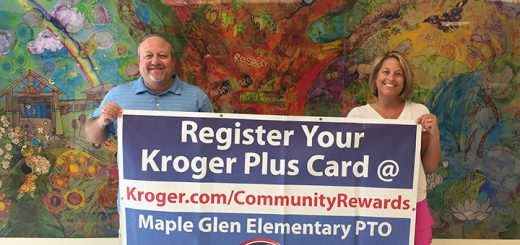 Principal Joe Montalone and PTO President Ashley Knott encourage Maple Glen Elementary School families and supporters to sign up through Kroger's Community Awards Program to benefit the school. (Photo by Anna Skinner)