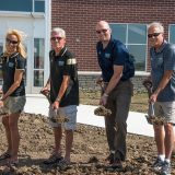 From left, Cindy Spoljaric, Chuck Lehman, Todd Burtron and Mayor Andy Cook at the time capsule ceremony at the Grand Park Events Center. (Submitted photo)