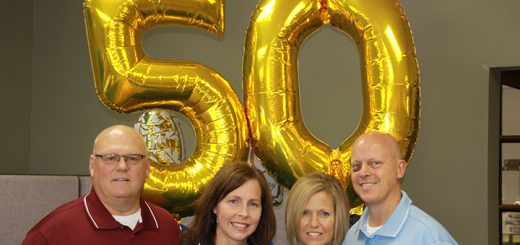 On June 24, Ball Systems Technologies celebrated 50 years as a business with a cookout. From left, the four current owners Andy Caine, Heather Caine, Stacy Turley and Pat Turley, all Westfield residents. (Submitted photo)