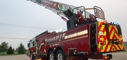ZFD's new quint reaches 137 feet. (Photo by Heather Lusk)