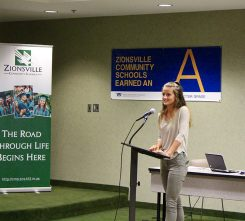 Sydney Blake speaks at the school board meeting. (Photo by James Feichtner)