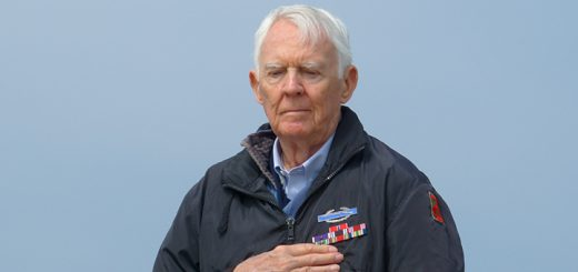 Army veteran Carver McGriff of Zionsville attends at the D-Day Ceremony on Utah Beach June 6. (Photo Illustration)