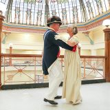 Vicki and Scott Ballentine practice a waltz in the Boone County Courthouse, where the bicentennial ball will be held. (Photo by Ann Marie Shambaugh)