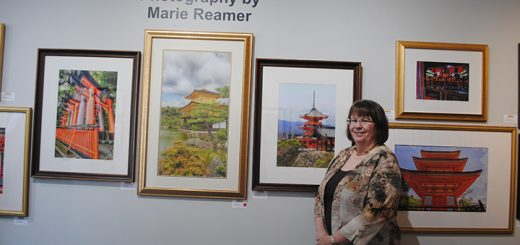 Marie Reamer's Japan I: Cityscapes, Shrines & Temples exhibit will be featured in Artsplash's front room through July.