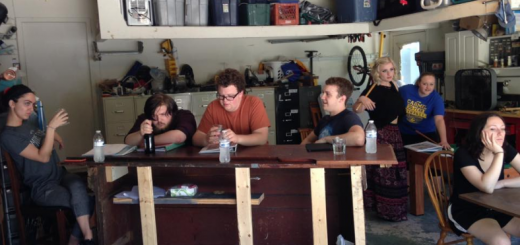 Rehearsals continue while the cast waits for the theater space to be ready. From left, Allie Charton, Remington Bastien, Matt McDonald, Michael Davis, Sydney Sorrell, Morgan Davis, Abigail Mattingly. (Submitted photo)