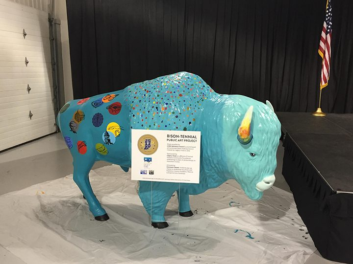 The Hamilton County bison represents iconic symbols of Hamilton County, including the historic Hamilton County Courthouse in Noblesville and high school mascots. (Submitted photo)