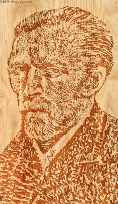 One of Alison Czarcinski's wood pieces, the face of Vincent Van Gogh. (Submitted photo)