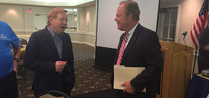 Carmel Mayor Jim Brainard, left, talks with Gerry Dick of Inside Indiana Business. (Photo by Adam Aasen)