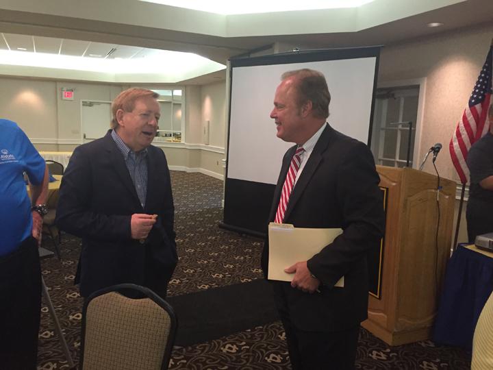 Carmel Mayor Jim Brainard, left, talks with Gerry Dick of Inside Indiana Business. (Photo by Adam Aasen)