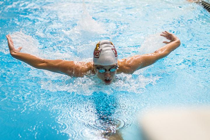 Lexi Laird swims in the IUPUI Natatorium. Laird now swims with the Carmel Swim Club.