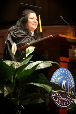Consuelo Castillo Kickbusch gives a commencement speech at American College of Education graduation at the Palladium. (submitted photo)