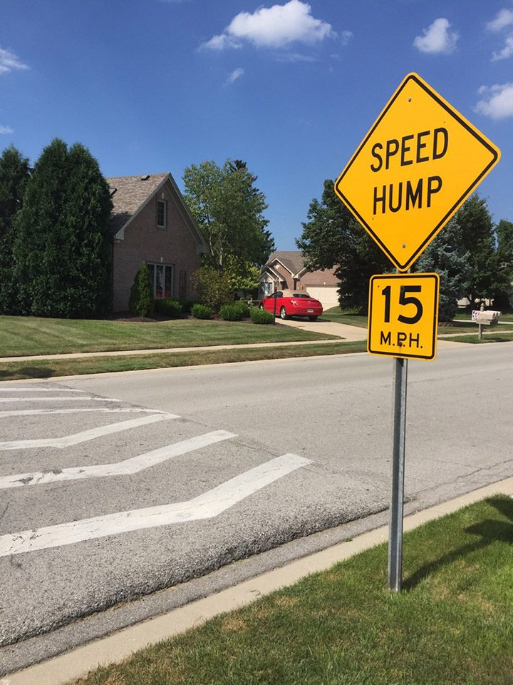 A speed hump along Medalist Parkway in Carmel. (Photo by Adam Aasen)