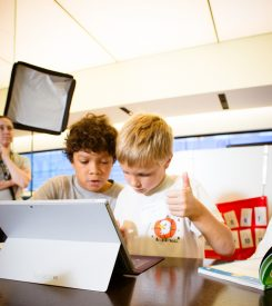 Chairo Jugg, left, and Luke Kouns, learn coding at a Codelicious class. (Submitted photo)