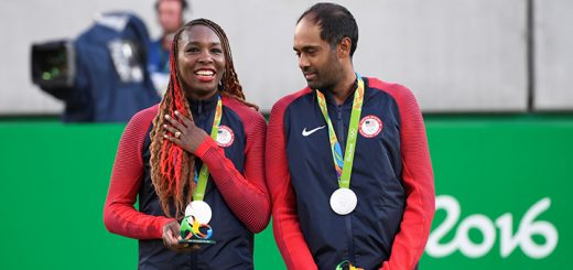 Venus Williams and Rajeev Ram earned a silver medal in mixed doubles. (Photo by Paul Zimmer/USTA)