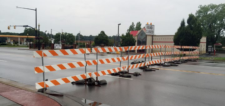 Barricades block the intersection of Range Line Road and Carmel Drive. (Photo by Adam Aasen)