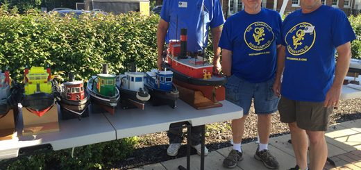 From left, Scott Black, Dave Richey and Greg Vollmer participate in the radio control model ship and boat event on Aug. 6 and 7. (Photos by Anna Skinner)