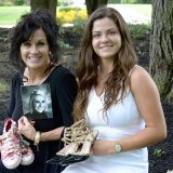 From left, Shelley Campbell and her daughter, Mia Campbell, are collecting shoes to raise money for Sydney's Smile, a foundation created in memory of Sydney Campbell, Shelley's daughter and Mia's sister, who died in 2011. (Photo by Lisa Price)