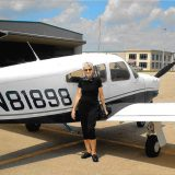 Marie Albertson took an airplane flying lesson in 2014 in Greenwood. (Submitted photo)