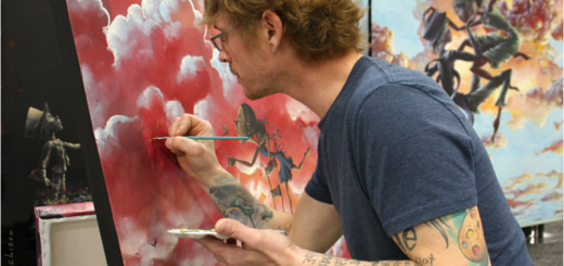 Gabriel Lehman will finish an original painting, which will be auctioned, at Riverview Health Foundation Gala. (Submitted photo by David Hutchison)