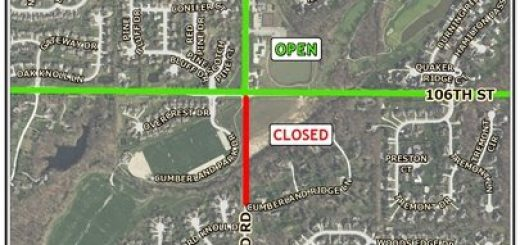 Cumberland Road just south of 106th Street is closed until late September as the first stage of construction has begun on the new roundabout at the intersection. (Submitted map)