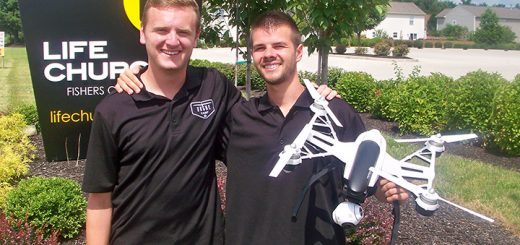 Matt King and Daniel Majestic show off one of the drones they use at the Drone Camp company they launched in Fishers this summer at Life Church, 9820 E. 141st St. (Photos by Sam Elliott)